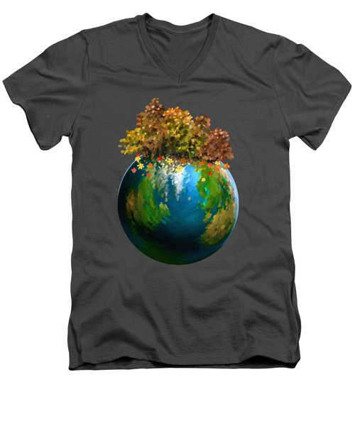 Men's V-Neck T-Shirt featuring the painting There Is Only One by Ivana Westin