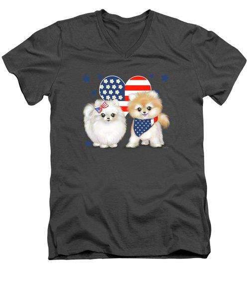 Patriotic Pomeranians Men's V-Neck T-Shirt by Catia Cho