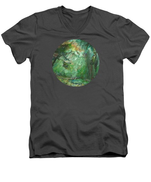 Rainy Woods Men's V-Neck T-Shirt by Mary Wolf