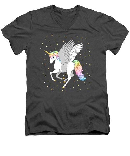 Pretty Rainbow Unicorn Flying Horse Men's V-Neck T-Shirt