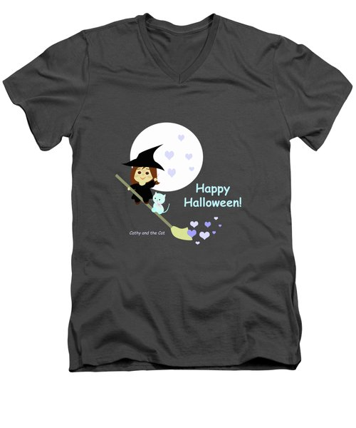 Cathy And The Cat Enjoy Halloween Men's V-Neck T-Shirt