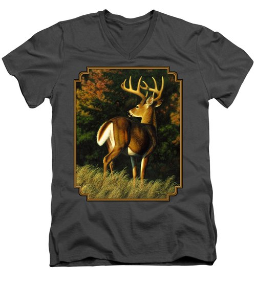 Whitetail Buck - Indecision Men's V-Neck T-Shirt by Crista Forest