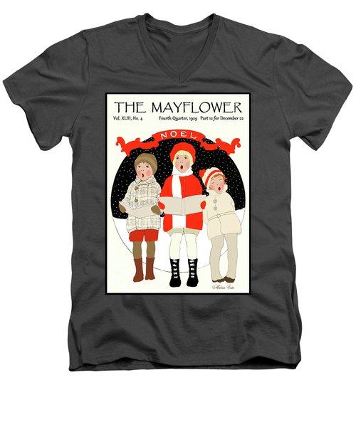 Children Caroling At Christmas Men's V-Neck T-Shirt