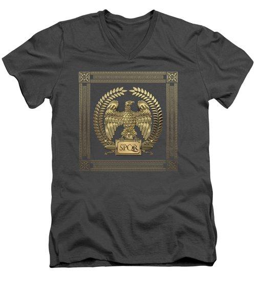 Roman Empire - Gold Imperial Eagle Over Red Velvet Men's V-Neck T-Shirt