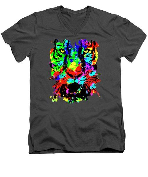 Colored Tiger Men's V-Neck T-Shirt