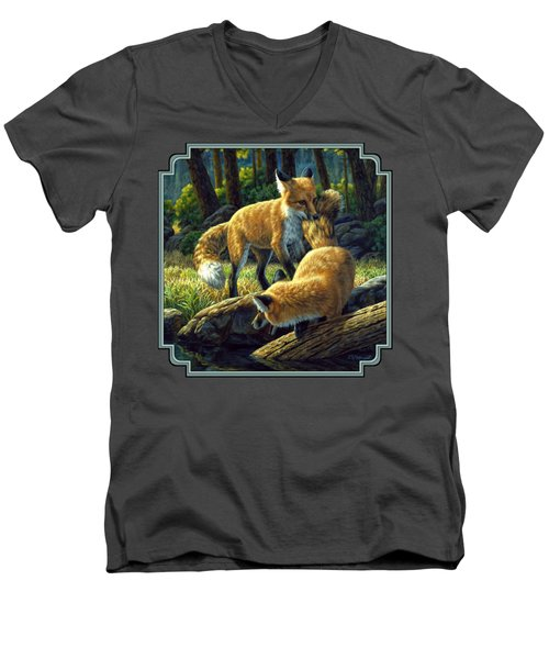 Red Foxes - Sibling Rivalry Men's V-Neck T-Shirt