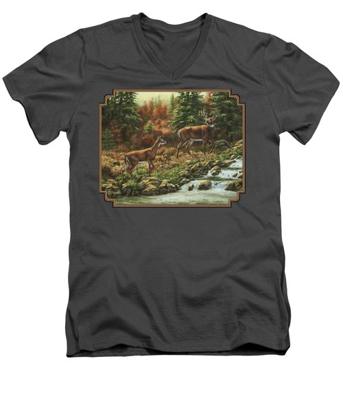 Whitetail Deer - Follow Me Men's V-Neck T-Shirt by Crista Forest
