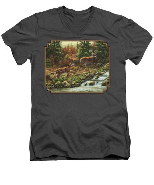 Whitetail Deer - Follow Me Men's V-Neck T-Shirt