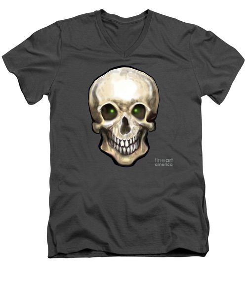 Men's V-Neck T-Shirt featuring the painting Skull by Kevin Middleton