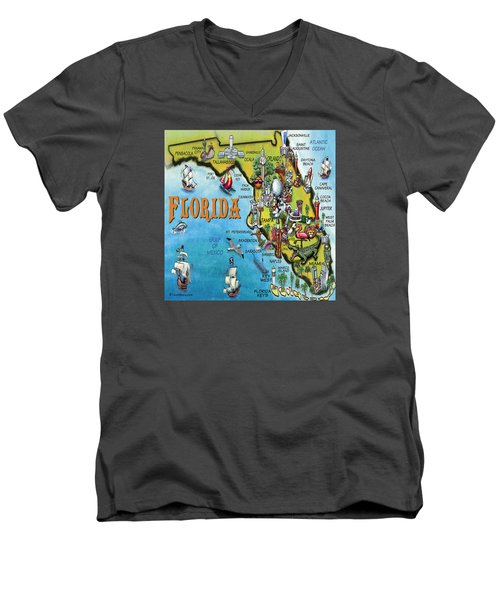 Men's V-Neck T-Shirt featuring the digital art Florida Cartoon Map by Kevin Middleton