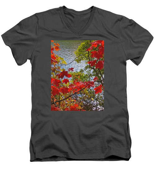 Autumn Lake Men's V-Neck T-Shirt by Ann Horn