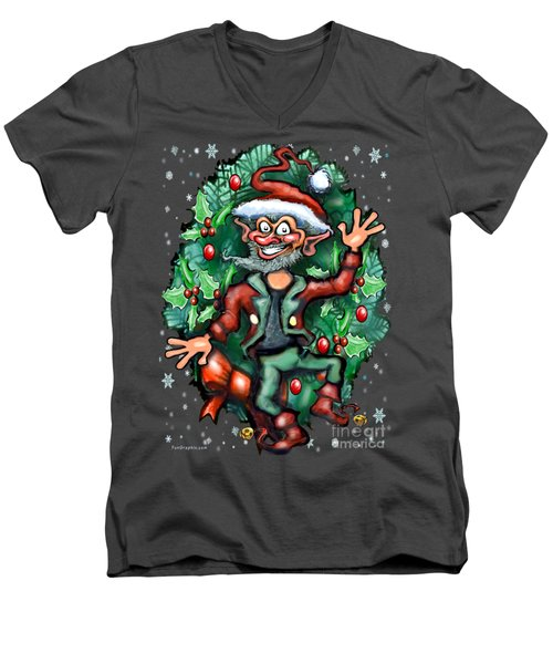 Christmas Elf Men's V-Neck T-Shirt by Kevin Middleton