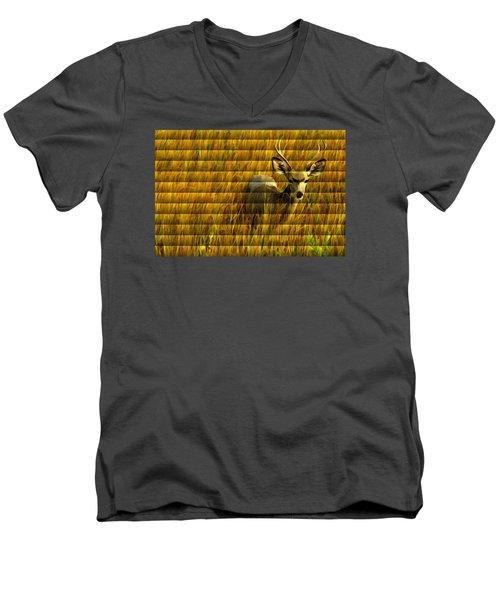 The Buck Poses Here Men's V-Neck T-Shirt by Bill Kesler
