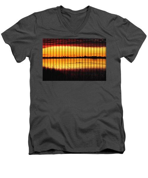 Magnificent Sunrise Swim Men's V-Neck T-Shirt by Bill Kesler