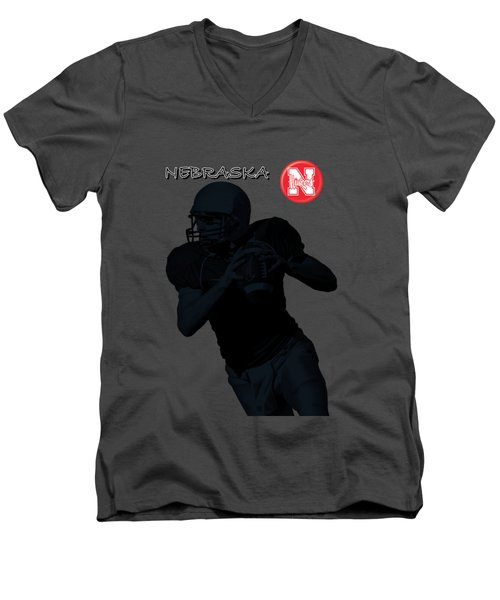 Nebraska Football Men's V-Neck T-Shirt by David Dehner