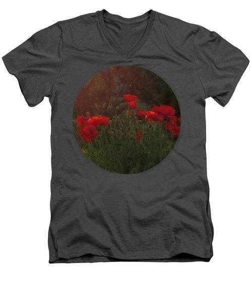 Sunset In The Poppy Garden Men's V-Neck T-Shirt