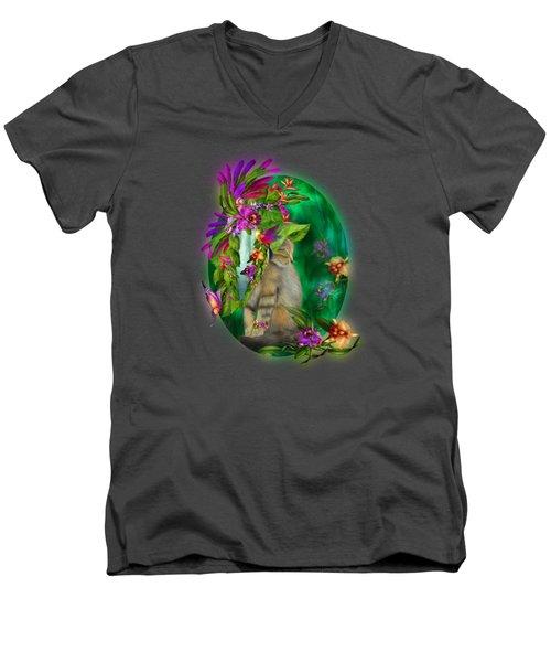 Cat In Tropical Dreams Hat Men's V-Neck T-Shirt