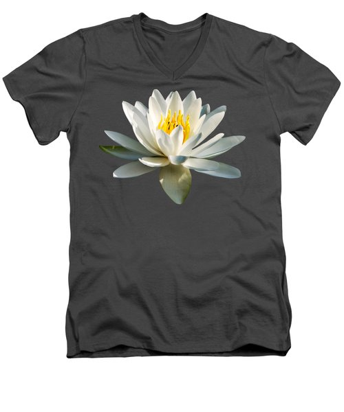 White Water Lily Men's V-Neck T-Shirt by Christina Rollo