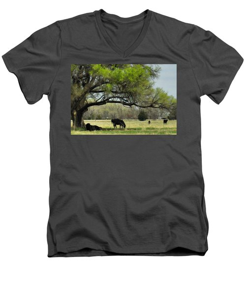 Men's V-Neck T-Shirt featuring the photograph Shady Rest by Bill Kesler