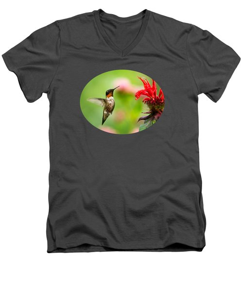 Male Ruby-throated Hummingbird Hovering Near Flowers Men's V-Neck T-Shirt by Christina Rollo