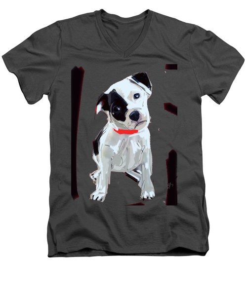 Dog Doggie Red Men's V-Neck T-Shirt