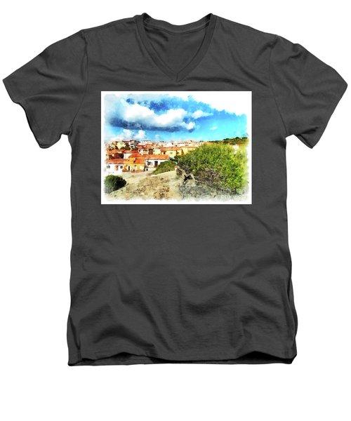 Arzachena Landscape With Clouds Men's V-Neck T-Shirt
