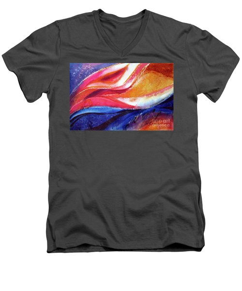 Men's V-Neck T-Shirt featuring the painting As I Bloom by Kathy Braud