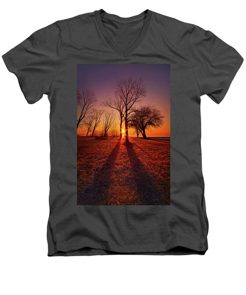Men's V-Neck T-Shirt featuring the photograph As Sure As The Sun Will Rise by Phil Koch