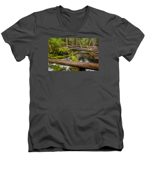 As The Creek Flows Men's V-Neck T-Shirt by Greg Nyquist