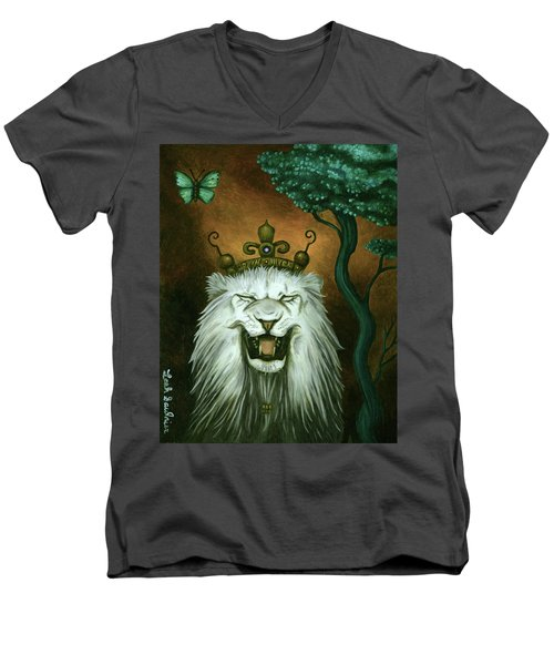 Men's V-Neck T-Shirt featuring the painting As The Lion Laughs by Leah Saulnier The Painting Maniac