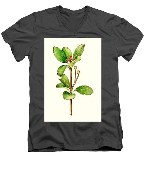 Men's V-Neck T-Shirt featuring the painting As The Twig Is Bent The Tree Inclines. by Heidi Kriel