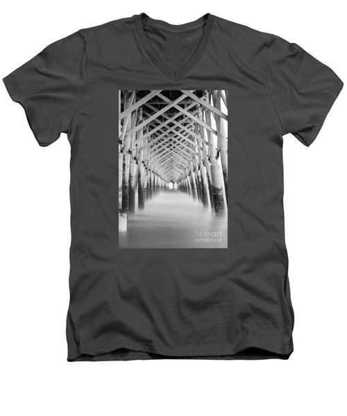 As The Water Fades Grayscale Men's V-Neck T-Shirt by Jennifer White