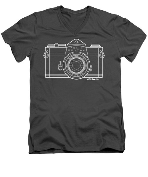Asahi Pentax 35mm Analog Slr Camera Line Art Graphic White Outline Men's V-Neck T-Shirt by Monkey Crisis On Mars