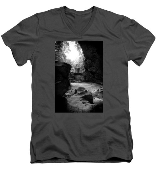 Men's V-Neck T-Shirt featuring the photograph Ash Cave Hocking Hills by Alan Raasch