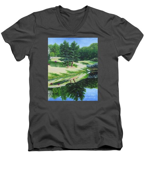 Asheville Reflections Men's V-Neck T-Shirt by Anne Marie Brown