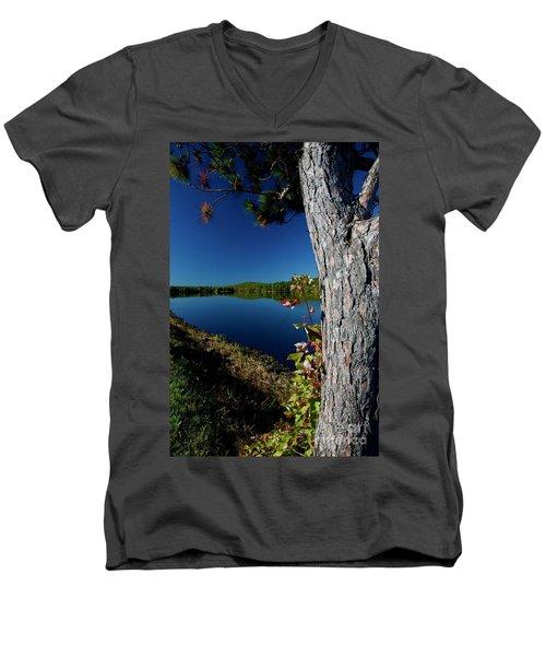 Ashley Reservoir Men's V-Neck T-Shirt by Jim Gillen
