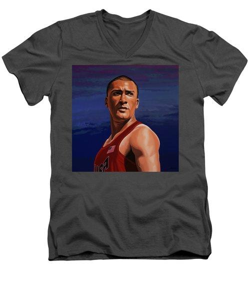 Ashton Eaton Painting Men's V-Neck T-Shirt by Paul Meijering