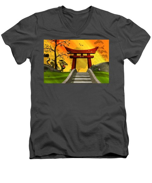 Asian Art Chinese Landscape  Men's V-Neck T-Shirt by John Wills