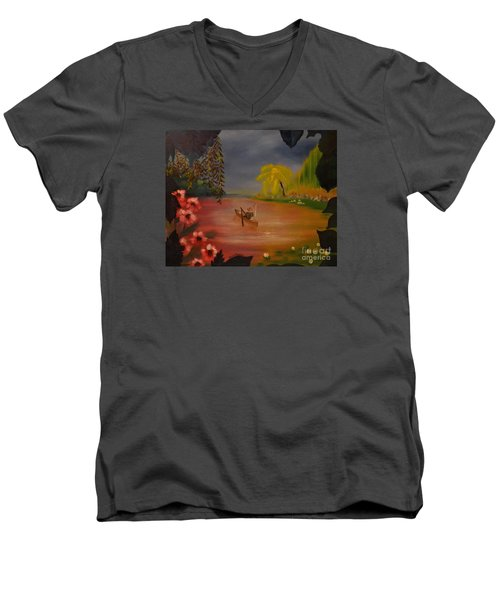 Men's V-Neck T-Shirt featuring the painting Asian Lillies by Denise Tomasura