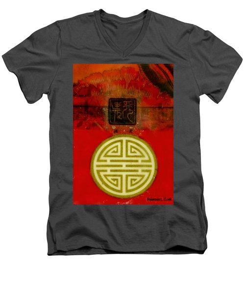 Asian Red Encaustic Men's V-Neck T-Shirt by Bellesouth Studio