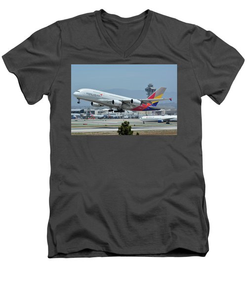 Men's V-Neck T-Shirt featuring the photograph Asiana Airbus A380-800 Hl7626 Los Angeles International Airport May 3 2016 by Brian Lockett
