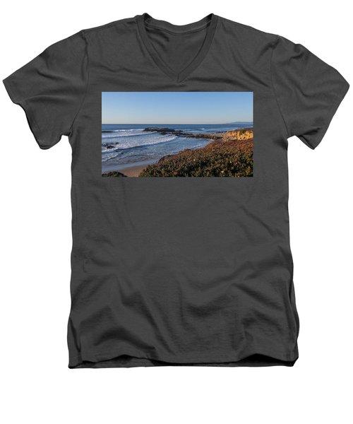Asilomar Shoreline Men's V-Neck T-Shirt by Mark Barclay