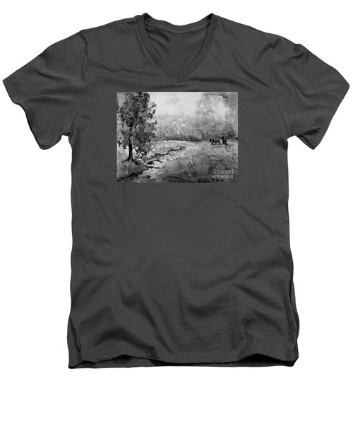 Men's V-Neck T-Shirt featuring the painting Aska Farm Horses In Bw by Gretchen Allen