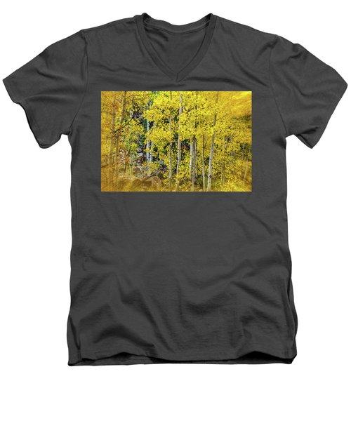Men's V-Neck T-Shirt featuring the photograph Aspen Autumn Burst by Bill Gallagher