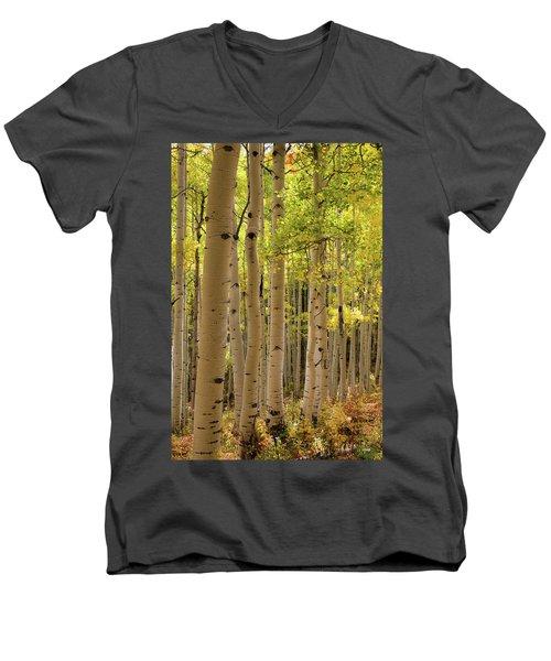 Men's V-Neck T-Shirt featuring the photograph Aspen Grove by Dana Sohr