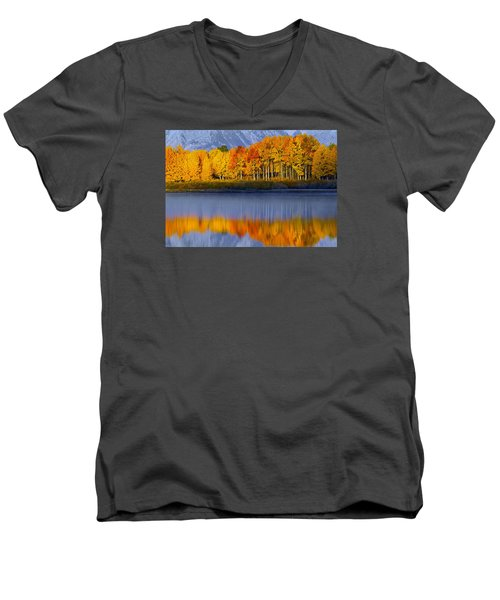 Men's V-Neck T-Shirt featuring the photograph Aspen Reflection by Wesley Aston