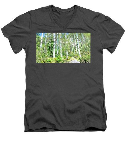 Aspen Splender Steamboat Springs Men's V-Neck T-Shirt by Joseph Hendrix