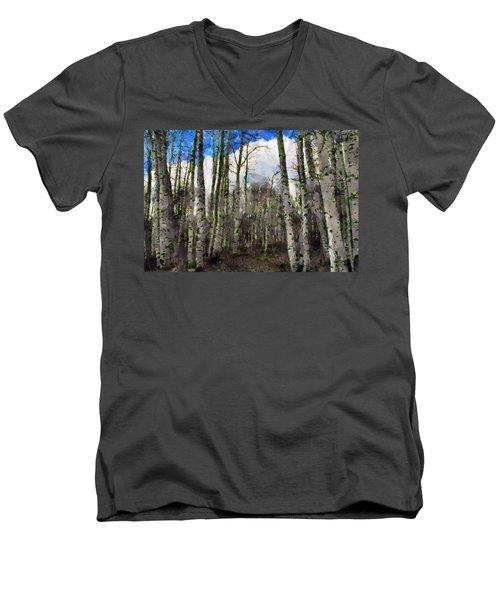 Aspen Standing Men's V-Neck T-Shirt by Jeff Kolker