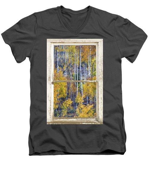 Aspen Tree Magic Cottonwood Pass White Farm House Window Art Men's V-Neck T-Shirt