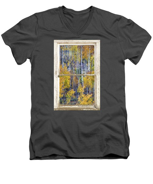 Aspen Tree Magic Cottonwood Pass White Farm House Window Art Men's V-Neck T-Shirt